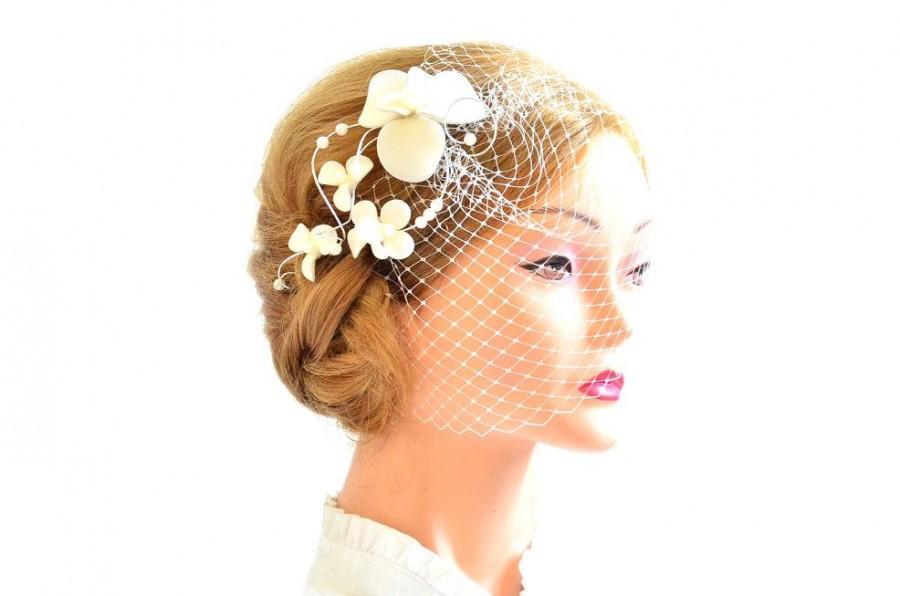 Свадьба - Birdcage veil headband Bridal veil fascinator Simple fascinator with veil Bridal headpiece Head piece  White fascinator Flower headpiece