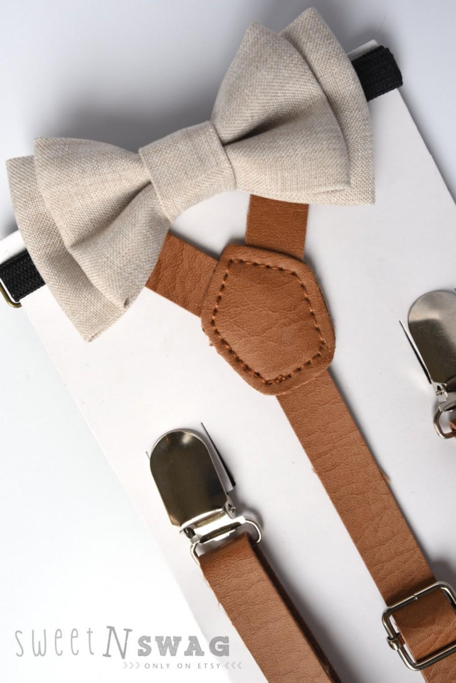 Wedding - SUSPENDER & BOWTIE SET.  Newborn - Adult sizes. Light brown pu leather suspenders. Ivory Chambray Bow tie