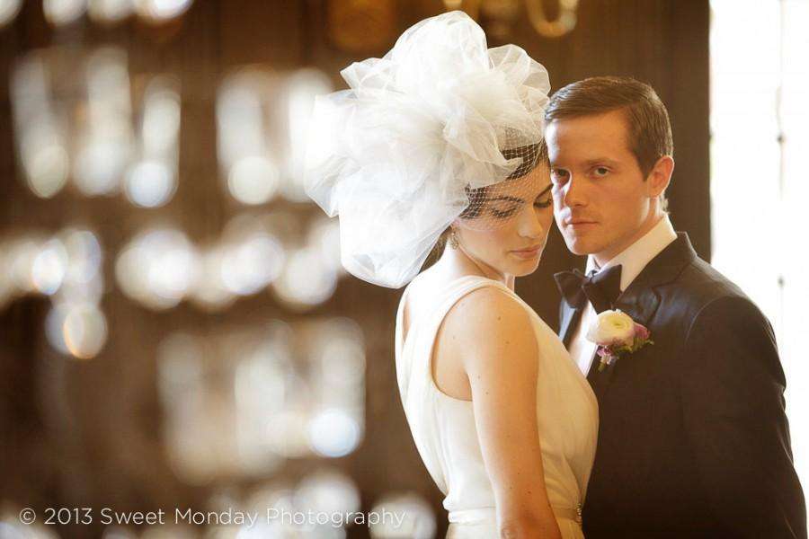 Свадьба - Downton Abbey inspired Tulle & Birdcage Statement Wedding Bridal Headpiece - Roaring 20s head hair piece