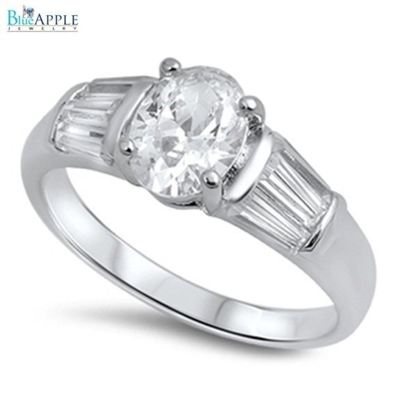Wedding - Elegant Oval Cut Baguette Russian Diamond CZ Clear Crystal Solid 925 Sterling Silver Wedding Engagement Anniversary Bridal Ring