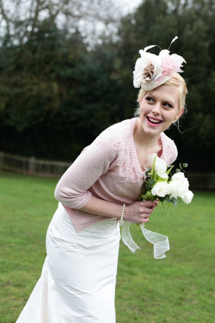 Hochzeit - Handmade Silk Flower and Feather Bridal Headpiece