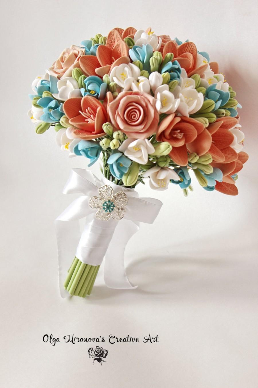 Coral Blue Bridal Bouquet , Turquoise Blue Coral Wedding Bouquet ...