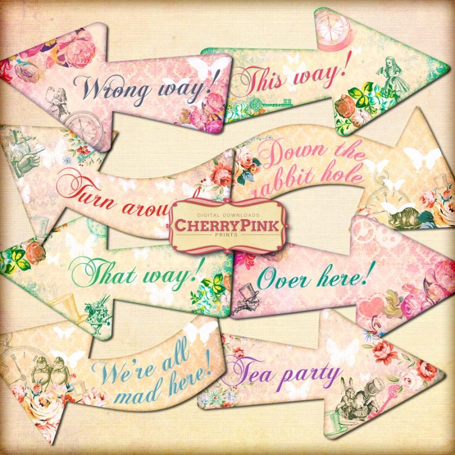 Mariage - ALICE ARROWS Alice in Wonderland party decoration, floral arrows, perfect for Alice wedding and parties.