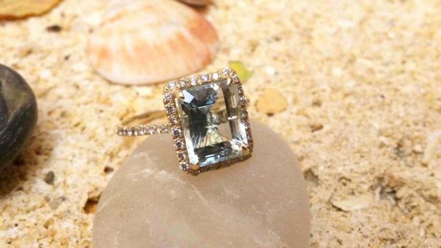 زفاف - Unique Engagement Band Natural Aquamarine Halo Ring Diamond Ring Bridal Jewelry Classic Bands Blue Engagement Diamond Engagement  Wedding