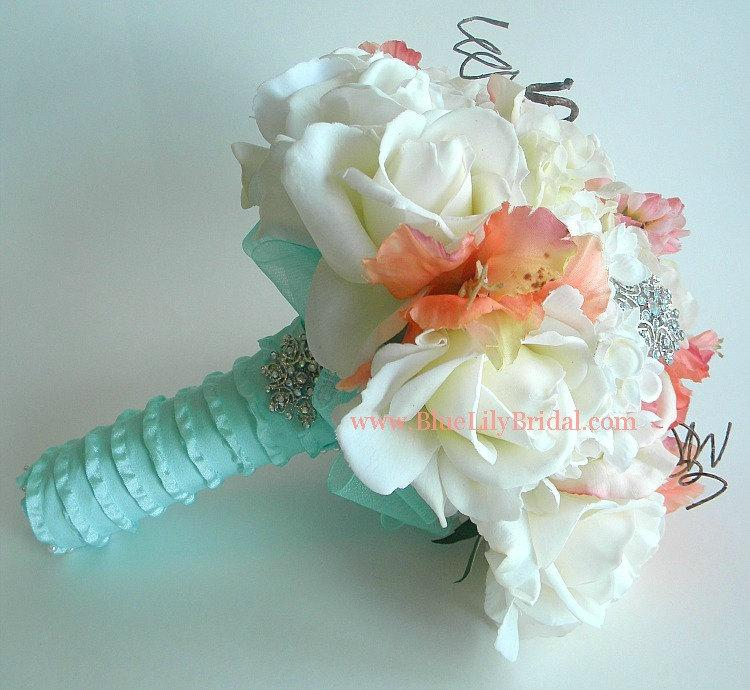 Mariage - The Original Ashley Bouquet- Coral, Cream and Soft Aqua Real Touch Bridal Bouquet- Made to Order