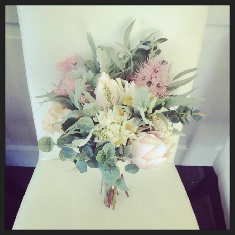 Mariage - Australian Made, Native Australian Pastel Soft Bridal Bouquet, Protea, Eucalyptus, Dusty Miller, Blushing Bride
