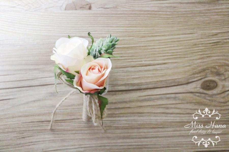 زفاف - Rustic Boutonniere, Pinecone Boutonniere, Pink Rose Boutonniere, Rustic Buttonhole, Twine and Burlap Wedding, Groomsmen Flowers, Groom