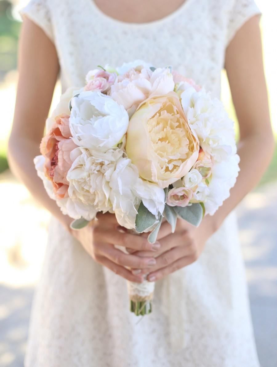 Silk Bride Bouquet Cream And Pale Pink Roses And Peonies Wildflowers