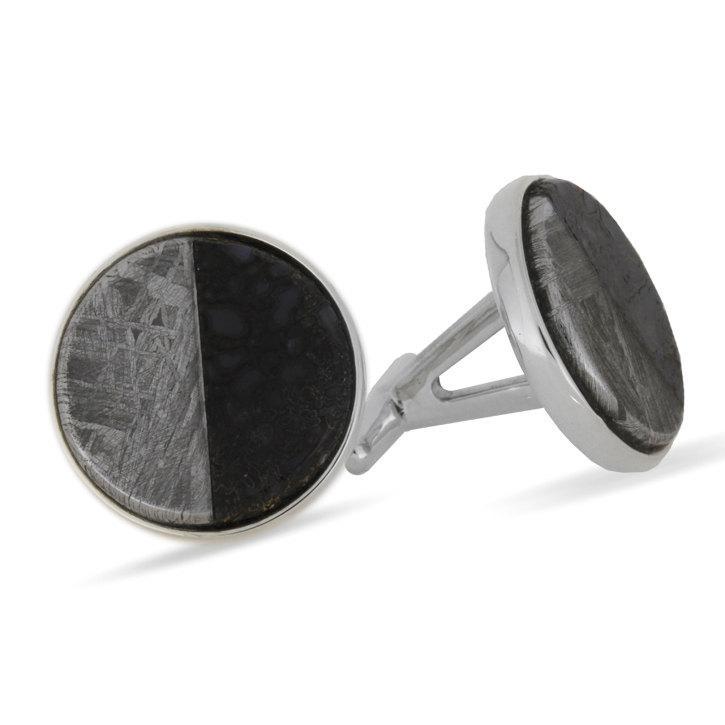 زفاف - Meteorite Cuff Links - Custom Dinosaur Bone, Meteorite, Sterling Silver Cuff Links, Personalized Cufflinks and Wedding Accessories