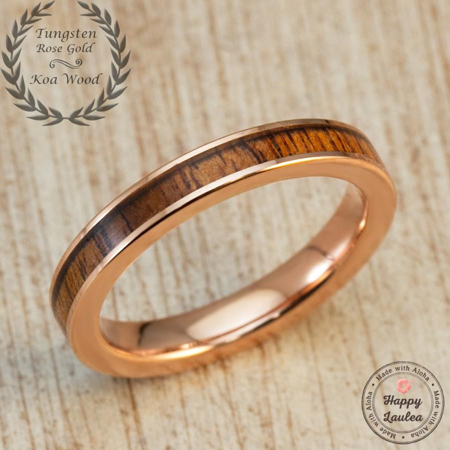 Свадьба - Rose Gold Ion Plated Tungsten Carbide Ring with Hawaiian Koa Wood Inlay (3mm Width, Flat Shape)