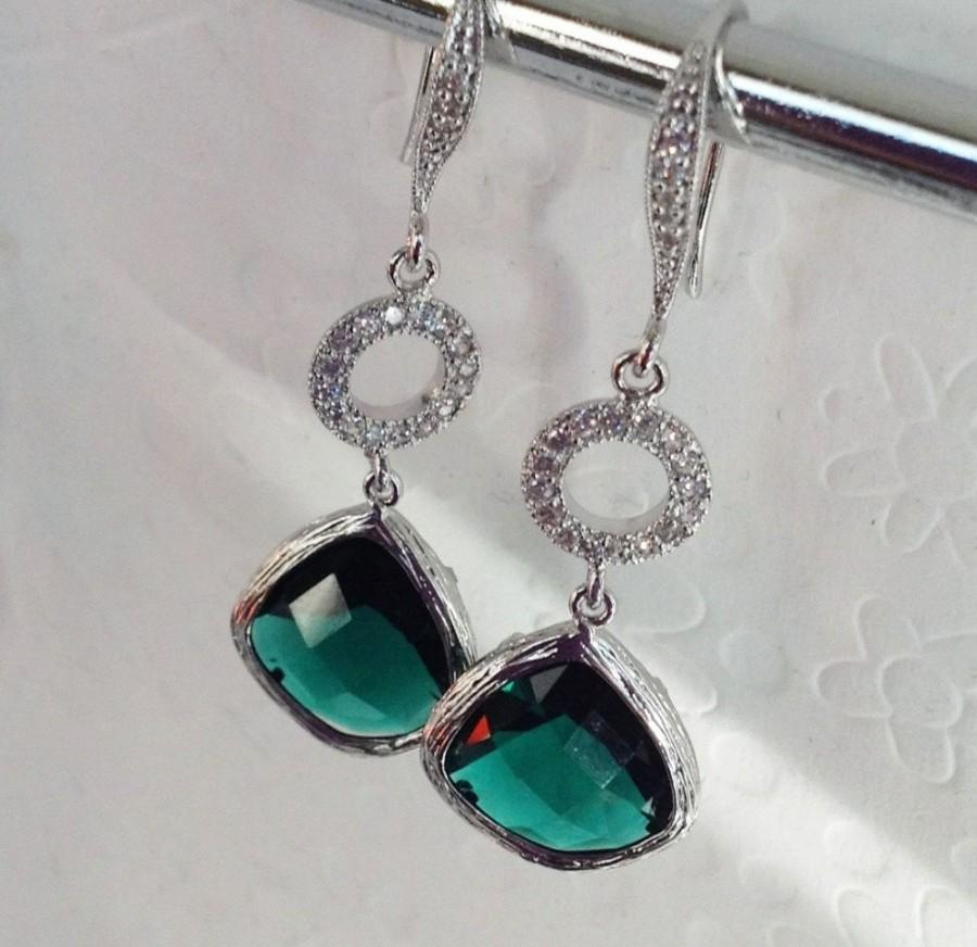 Swarovski Dangle Earrings Will You Be My Bridesmaid Gifts Green Emerald Drop Sterling Silver Weddings Valentines Day Gift