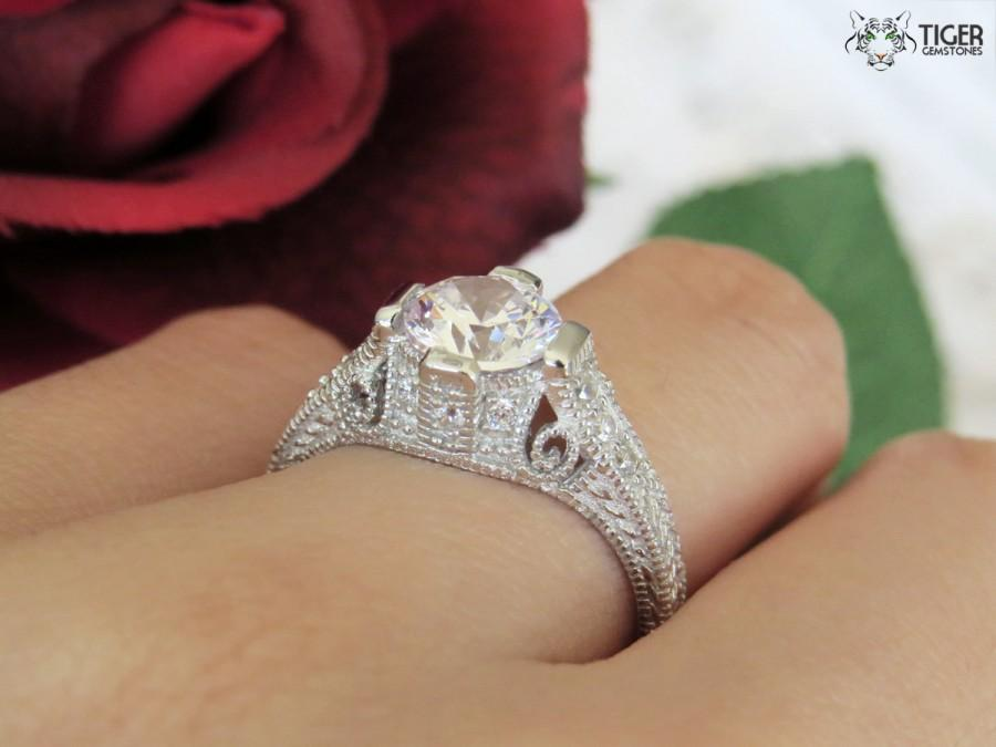 1 5 Carat Vintage Scroll Filigree Style Round Solitaire Engagement