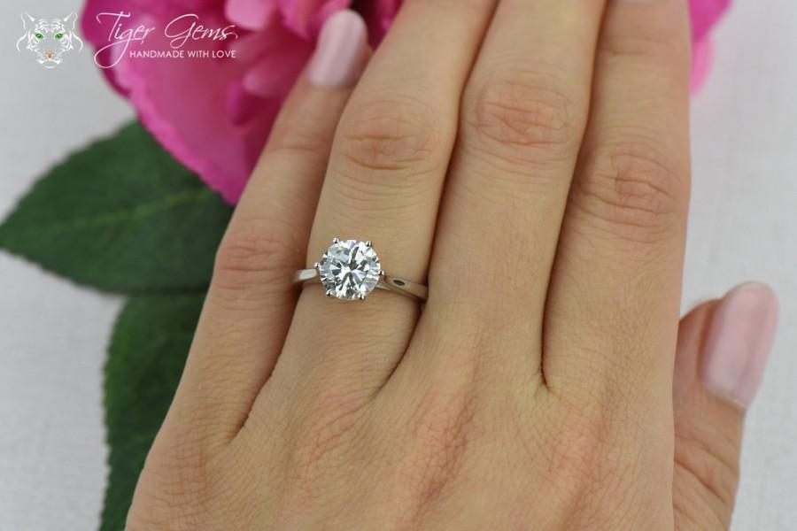 Beautiful 2 Ct Classic Solitaire Engagement Ring, Low Profile Ring, Man Made Diamond  Simulant, 6 Prong Wedding Ring, Promise Ring, Sterling Silver