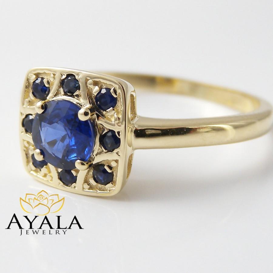 زفاف - 14K Yellow Gold Sapphire Engagement Ring Natural Blue Sapphire Ring Genuine Sapphire Ring