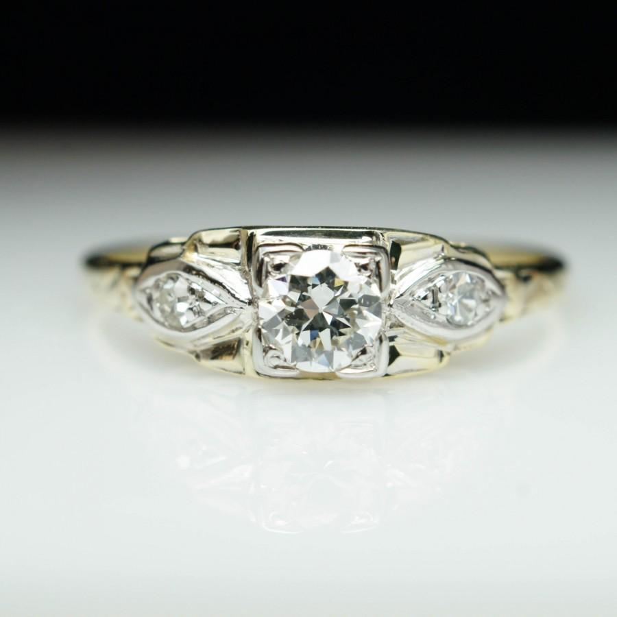 Hochzeit - Vintage Art Deco Old European Cut Diamond Engagement Ring 14k Yellow Gold Wedding Ring