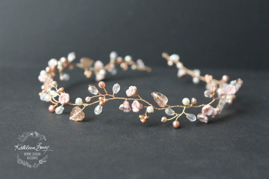 bca1f4c015d R950 Zoe Rose gold wedding bridal hair accessory accessories - wedding  headband - hair wreath - bride rose blush pink gold flower crown