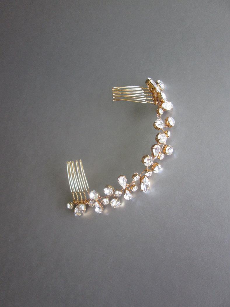 Свадьба - Swarovski crystal hair vine, Bridal crystal hair vine, Wedding hair Swarovski hair vine, Dainty crystal hair vine, Sparkly bridal head piece