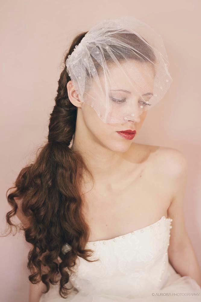 Свадьба - Bridal Crystal Birdcage Veil,Tulle Birdcage Veil With Crystals in Ivory,White,Crystal Wedding Veil,Blusher Veil Birdcage