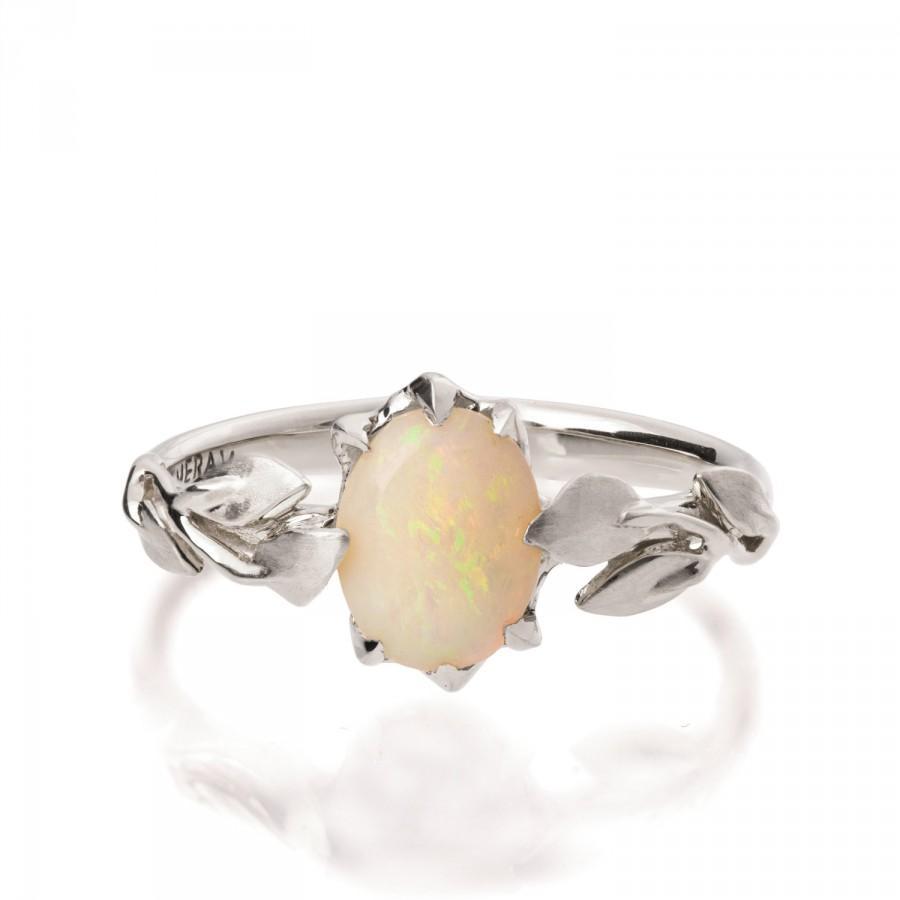Opal Engagement Ring, Opal Ring, Opal 18k White Gold Ring, Opal Jewelry,  Unique Engagement Ring, Australian Opal Ring, Leaves Opal Ring, 14