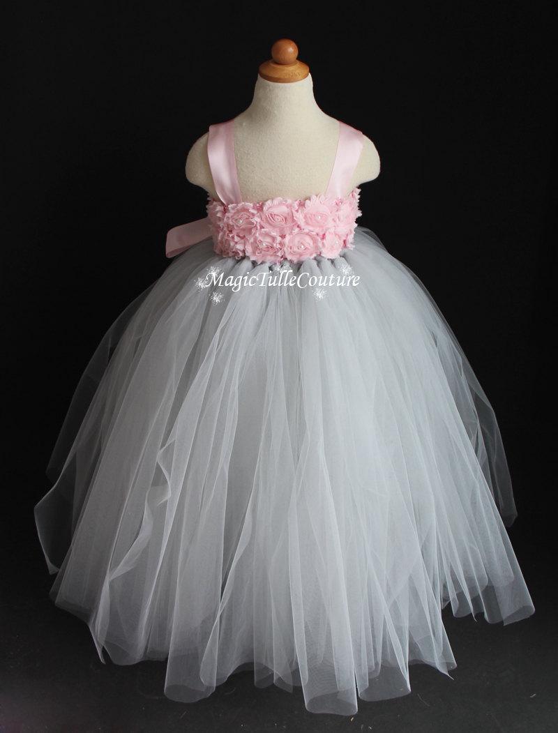 Pale Pink And Sliver Grey Flower Girl Tutu Dress