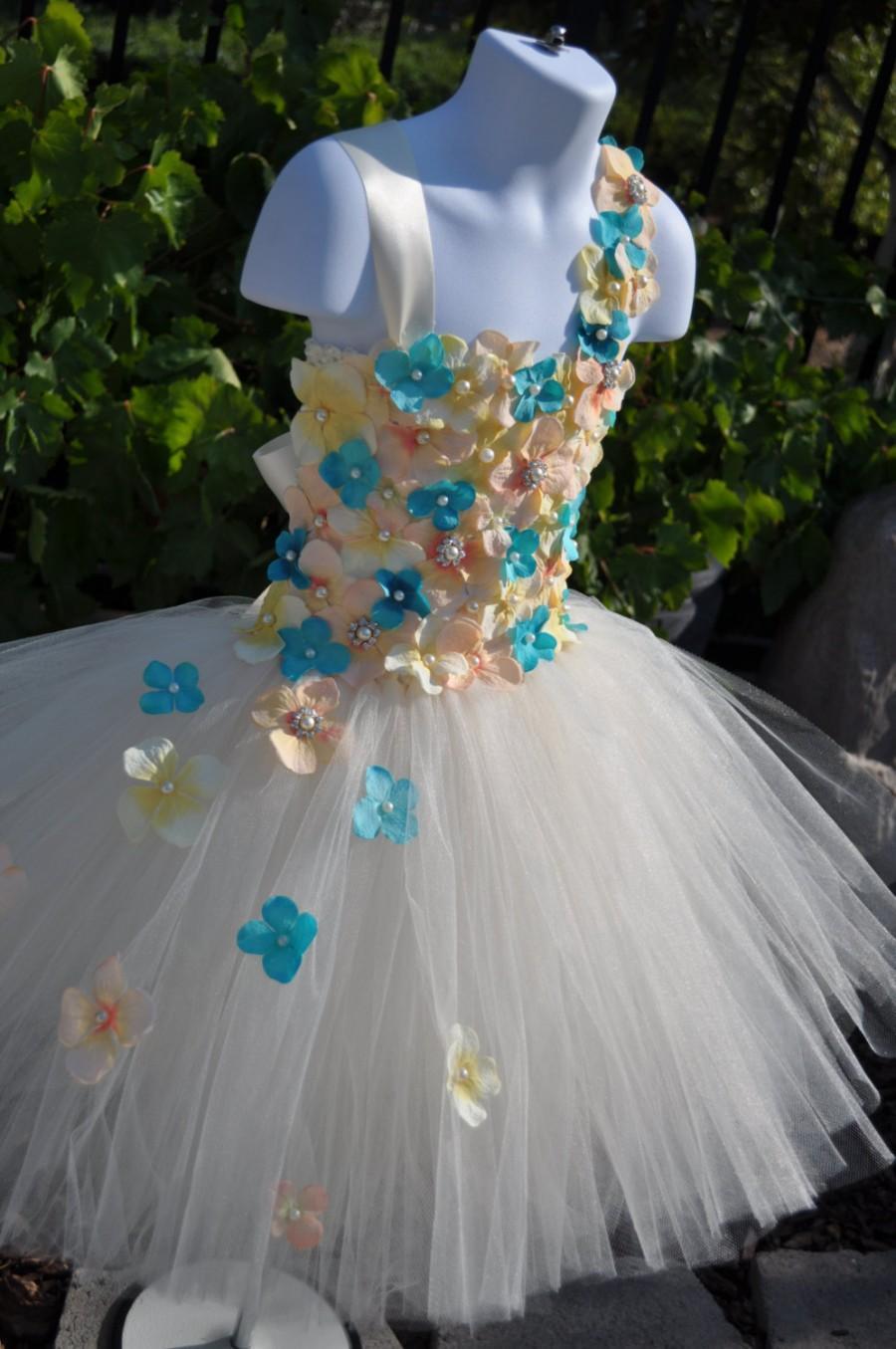 زفاف - Special Occasion Dress, Flower Girl Dress, Tutu Dress, Ivory Flowergirl  Dress, Toddler Dress, Infant Dress, Peach Dress, Turquoise Dress