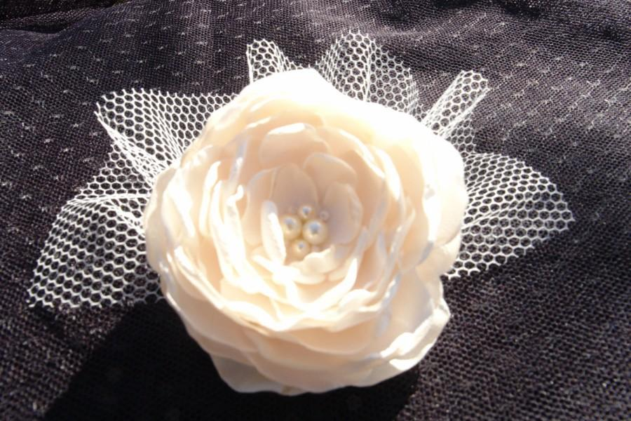 Wedding - Wedding bridal hair accessories IVORY flower clip fascinator- netting pearl crystal  wedding flower-Bridal flower brooch