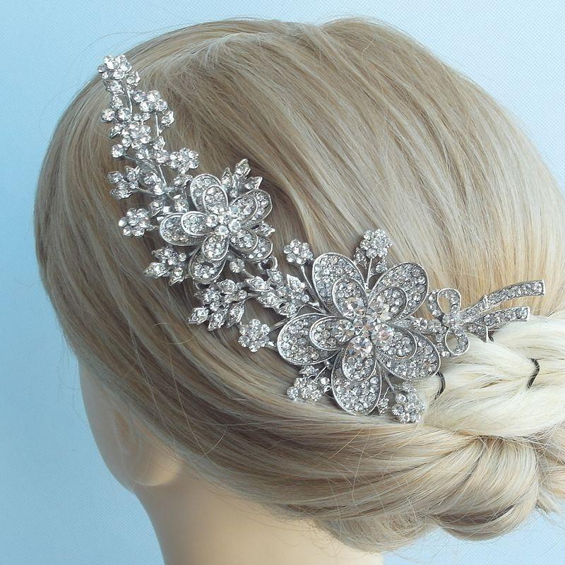 Свадьба - Wedding Hair Accessories 5.7 Inch Silver-tone Rhinestone Crystal Bridal Hair Comb Wedding Headpiece Flower Wedding Hair Comb HSE04087C1