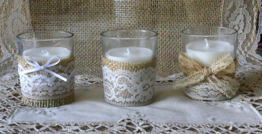 Свадьба - Vintage white lace wedding tea candles, Burlap wedding decor, 10 hour vintage wedding candless