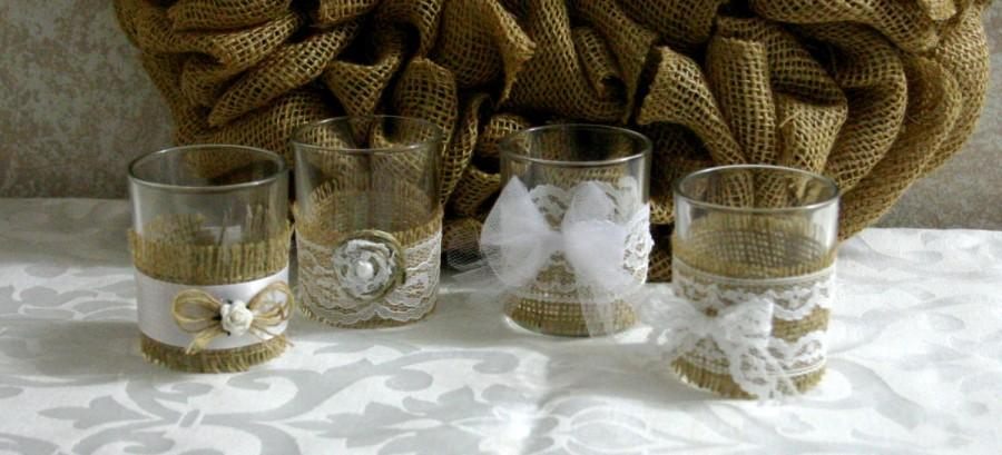 Свадьба - Vintage white lace wedding tea candles, Burlap wedding decor, 10 hour vintage wedding candless