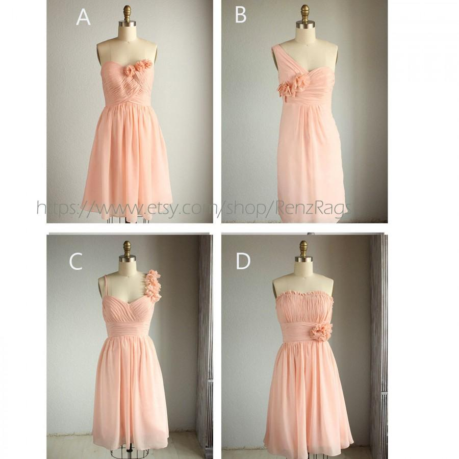2015 Mix And Match Short Peach Bridesmaid Dress Blush Pink Fairy Wedding One Shoulder Coral Rosette Knee Length E003: Pink Fairy Wedding Dress At Reisefeber.org
