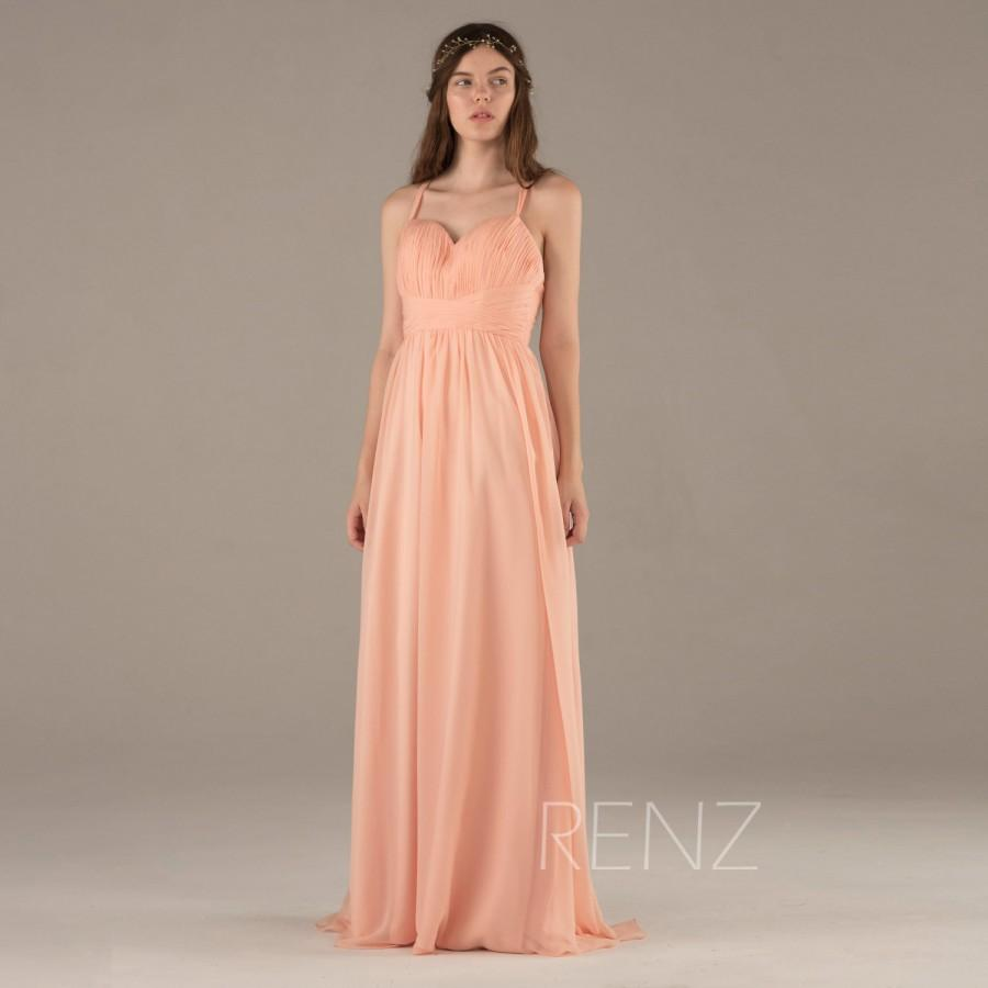 2015 Blush Bridesmaid Dress, Long Peach Wedding Dress, Criss Cross ...
