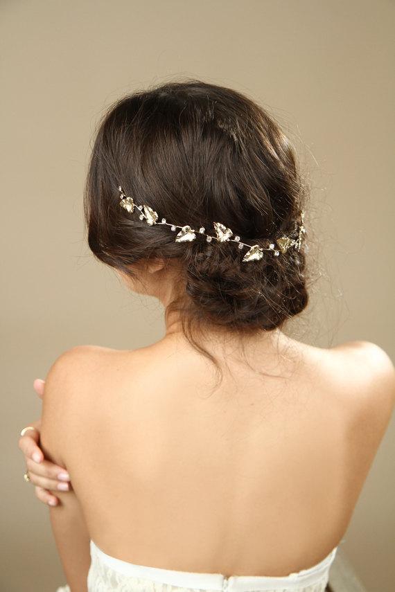 Свадьба - Gold Leafs Wedding Hair Wreath, Golden Leaf Crown, Greek Goddess Headband, bridal hair accessories, Gold Leaf Tiara, Leaf Halo,