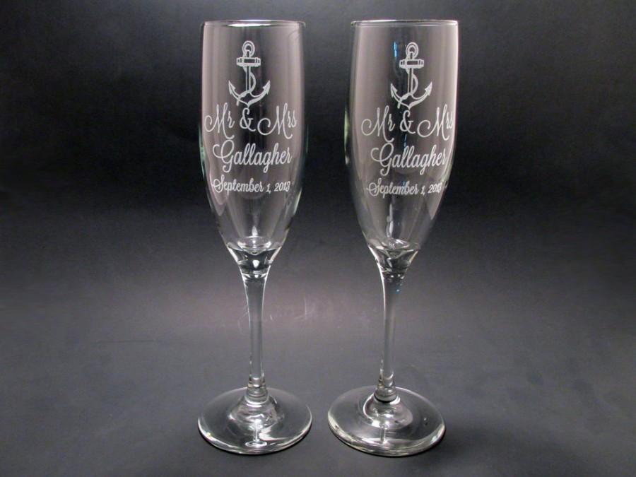 wedding personalized anchor champagne flutes wedding toasting flutes