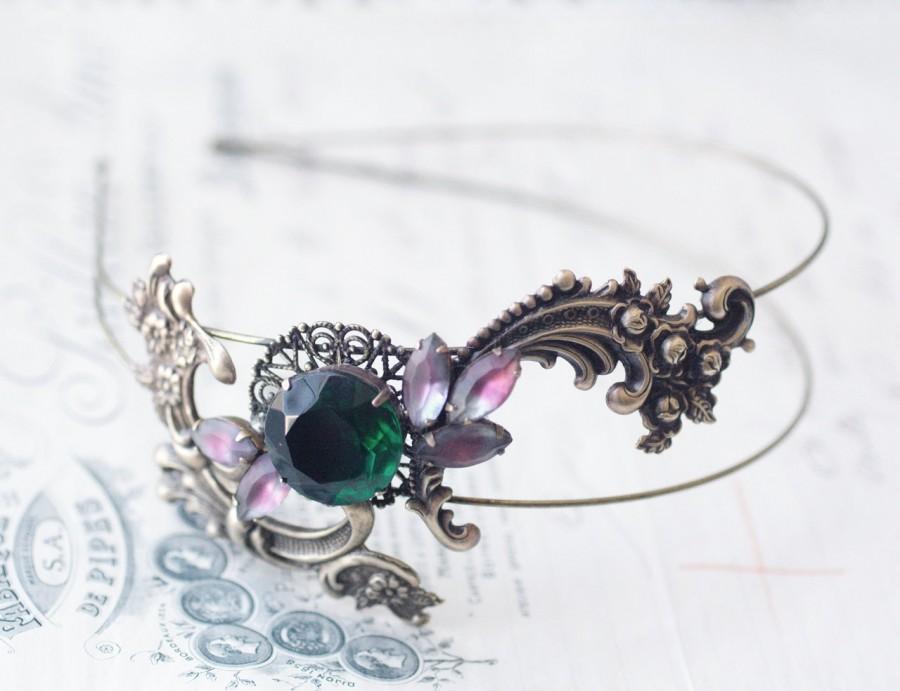 Свадьба - Brass double headband emerald jewel vintage style art nouveau glamour head piece bronze filigree