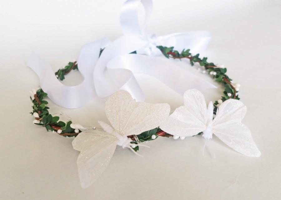 Свадьба - Buterfly Dance-White Woodland Butterfly Hair Crown-Wedding Hair Accessory-Bridal Hair-Butterfly Flower Crown