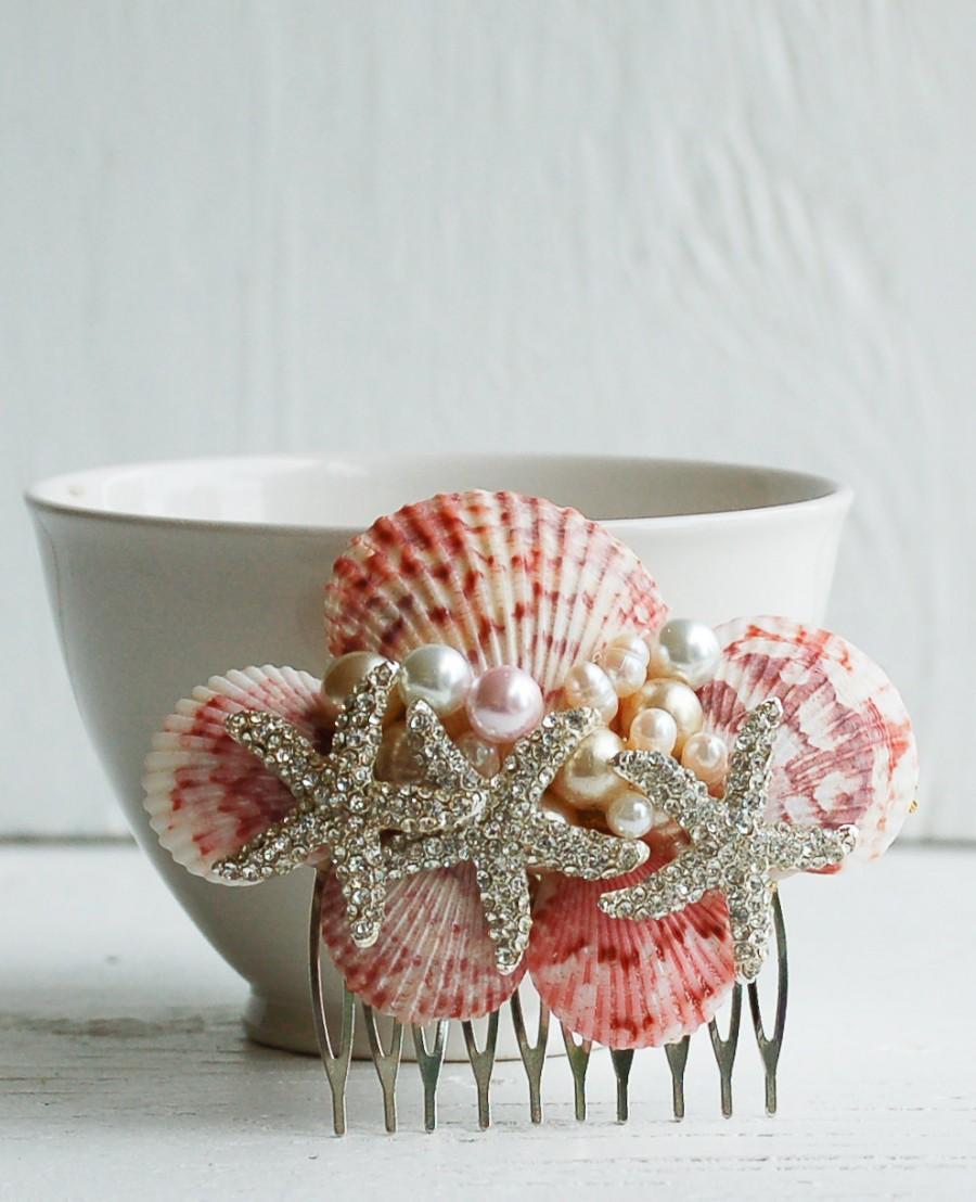 Свадьба - Pink Sea Shell Bridal HAIR COMB Hair Accessory Beach Wedding Mermaid Ocean Summer Resort Vacation