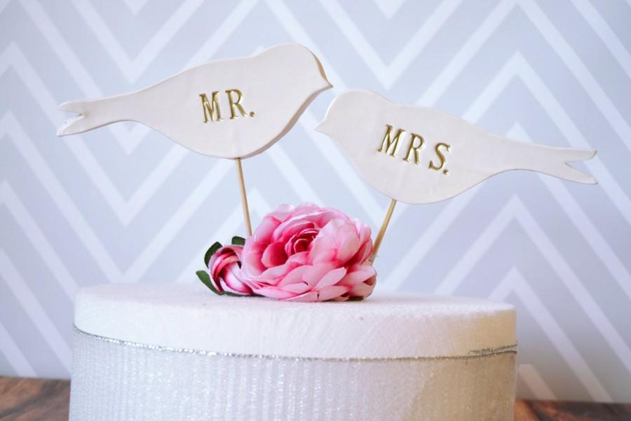 Mariage - Mr. & Mrs. Bird Wedding Cake Toppers in Gold