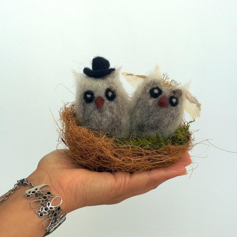 Mariage - Owl wedding cake topper Felt animals nest cake topper Owl couple Lovebird Rustic wedding Birds in love Groom and bride owl pair in nest