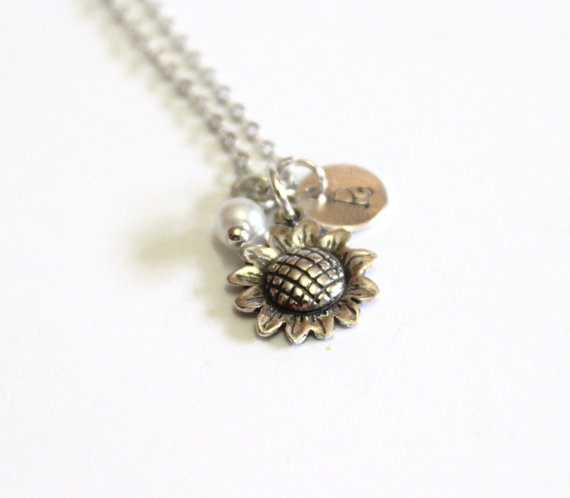 Свадьба - Sunflower Sterling Silver Necklace, Sunflower Necklace, Tiny Silver Necklace, Personalized Silver Disc, Monogram Charms, Silver Personalized