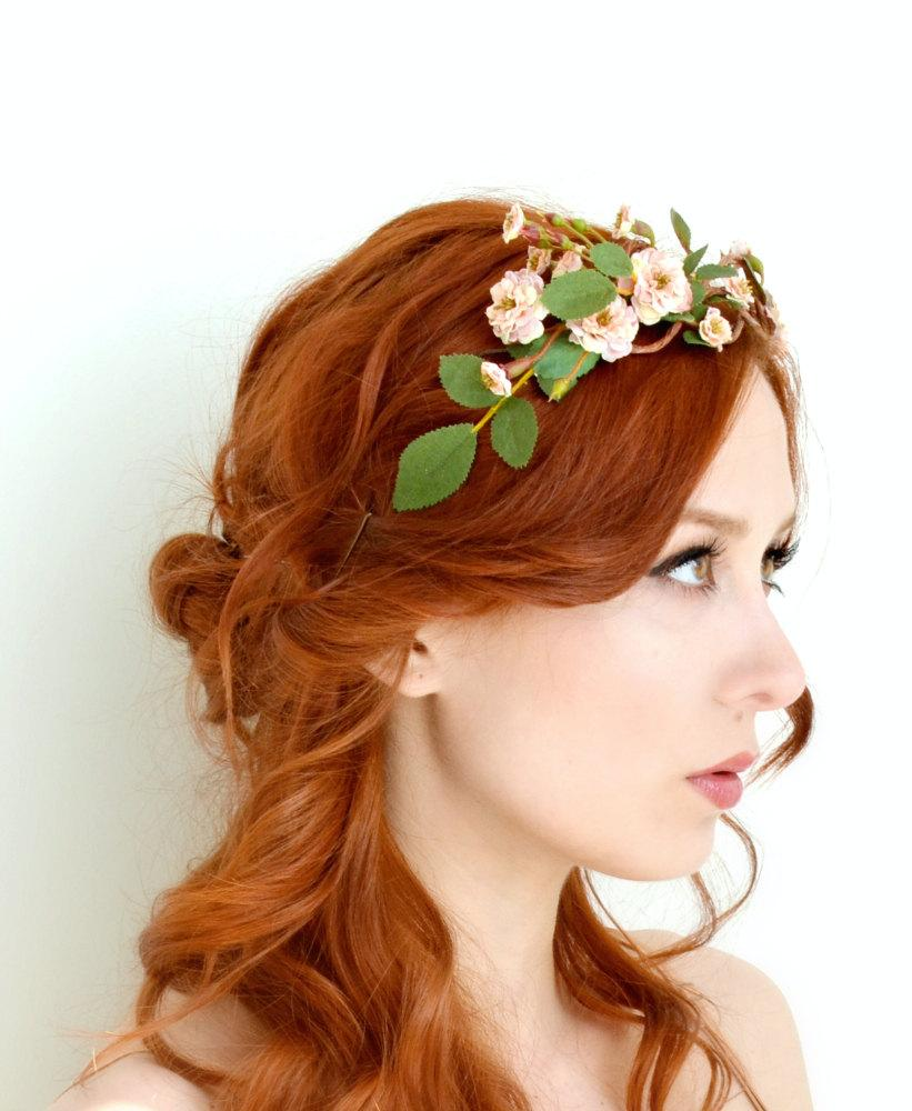 Mariage - Rose tiara, blush flower crown, floral crown, woodland head piece, rose headband, forest tiara, wedding hair accessory - Folklore