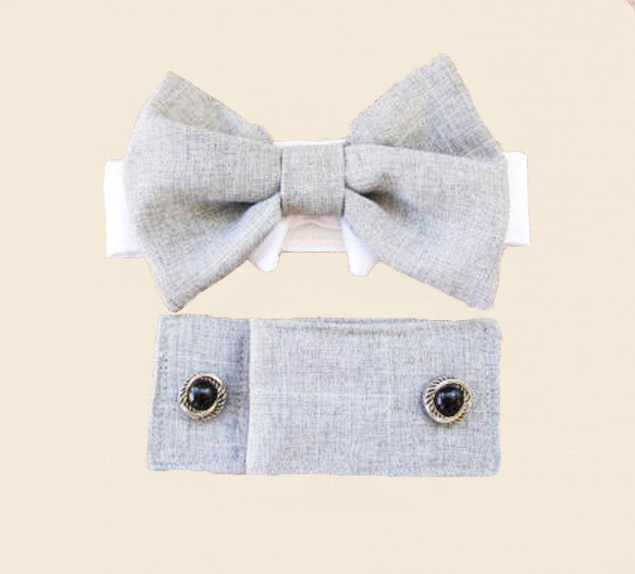Mariage - Dog Wedding Cuffs and Bow Tie :  Light Linen Gray