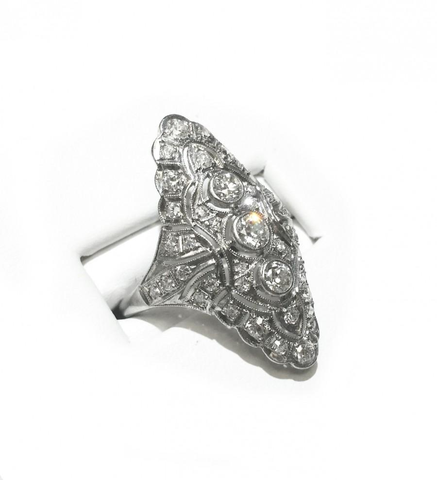 زفاف - Vintage 1.25ctw Diamond Navette Platinum Ring LOTS OF SPARKLE! Engagement Statement Cocktail Right Hand Ring