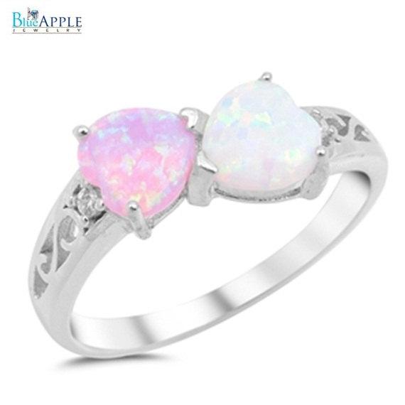 Wedding - Synthetic White Australian Lab & Opal Pink Lab Opal Heart Shape 925 Sterling Silver Promise Ring Love Gift Heart Shape Ring Valentines Gift