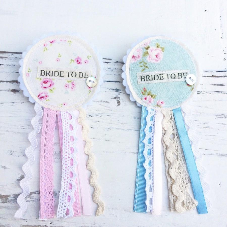 Mariage - Bride To Be Rosette Badge - Pastel Colours -  Lace Ribbon Vintage Shabby Chic Hen Party Badge