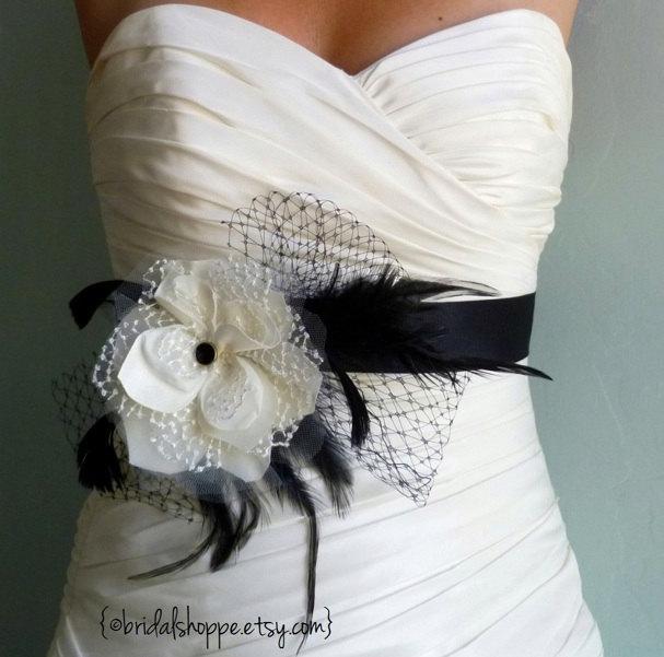 Mariage - Black and Ivory Bridal Sash, Bridal Belt, Bridal Accessories, Weddings, Wedding Accessories, Belts and Sashes Sadie