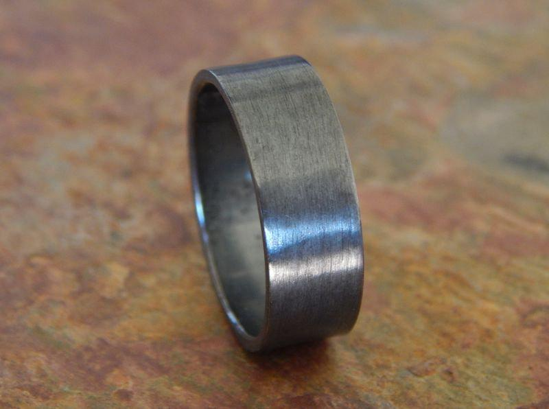 زفاف - MIDNIGHT Oxidized Silver 6, 8 or 10 mm // Men's Wedding Ring // Women's Wedding Ring // Men's Wedding Band // Women's Wedding Band //