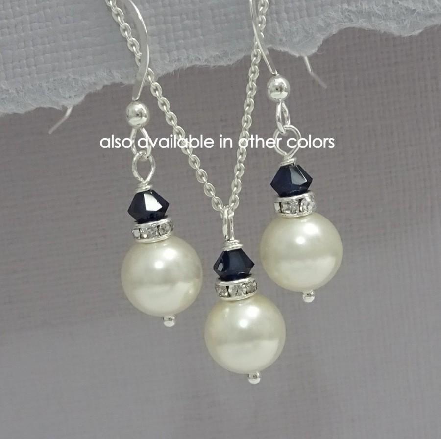 Свадьба - CUSTOM COLOR Bridesmaid Gift, Dark Navy Wedding Jewelry Set, Swarovski Ivory Pearl and Dark Indigo Crystal Jewelry Set, Bridesmaid Jewelry