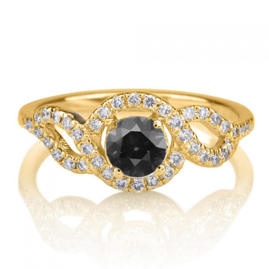 Mariage - Braided Black Diamond Engagement Ring, 14K Gold Ring, 0.80 TCW Black Diamond Ring, Unique Rings, Art Deco Engagement Ring