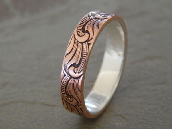 PAISLEY Silver Amp Copper 5mm Mens Wedding Ring Womens Wedding Ring Mens Wedding Band