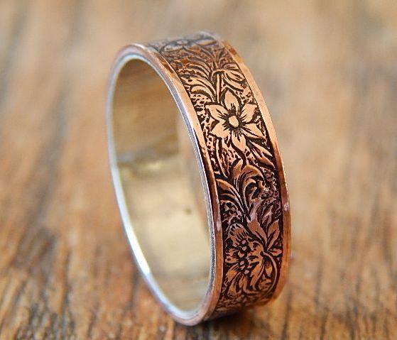 Свадьба - ANTIQUED FLORAL Silver & Copper // Men's Wedding Ring // Women's Wedding Ring // Men's Wedding Band // Women's Wedding Band // Unique Band